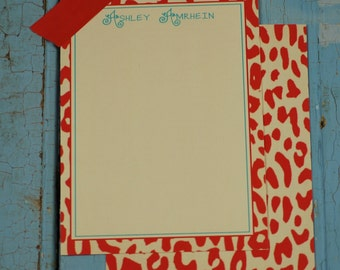 Personalized red leopard stationery-FREE SHIPPING or DIY printable