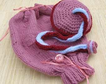 Knitted Uterus with Drawstring Top, Caesarian Opening and Placenta, Antenatal Teaching Aid, Uterus & Placenta Set, Doula Gift, Midwife Gift
