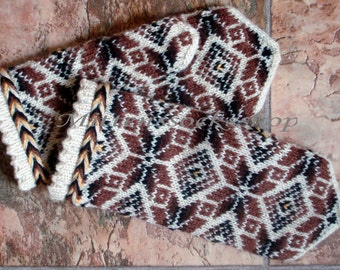 White Brown Hand Knitted Mittens Wool Mittens Knitted Gloves Wool Gloves Winter Gloves Winter Mittens Patterned Mittens Latvian Mittens Gift