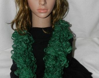 "Handmade Premier Starbella Frill Crochet Boa Scarf called ""Emerald""   JJH-9092178"