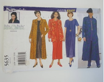 Plus Size clothing / Duster dress /90s Dress / Plus size dress/ 1998 vintage sewing pattern, Bust 38 40 42, Size 16 18 20, Butterick 5635