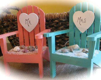 Personalized Beach Destination Theme Mini Adirondack Chairs Wedding Cake Topper in Choice of 5 Colors