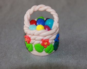 Polymer Clay Easter Basket, Mini Nest & Eggs, Kawaii Birds Nest, Mini Nest, Polymer Nest, Easter Gifts