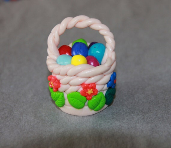 Polymer clay easter basket mini nest eggs kawaii birds like this item negle Images