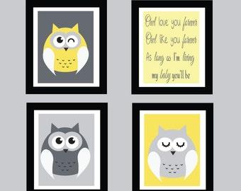 Owls Art Print, Childrens Art Print, Wall Art, Kids Art Print, 548C