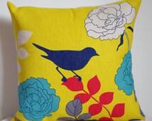 Birds and flower pillow, Cotton Linen bird pillow cover, cartoon pillow covers