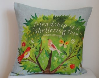 Birds and tree pillow, Cotton Linen bird pillow cover, tree pillow covers