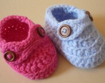 Baby booties. Little loafers for boys or girls with button detail. Multi-sized and choice of colours.