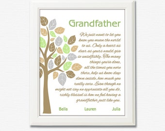 Grandfather gift art print -UNFRAMED- Tree, grey, personalized grandpa gift print, gift for father, grandpa wall art, grandfather, grandpa