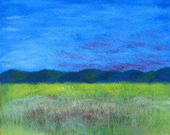 field of cereals, painting, original oil painting small de21x19 cm, sunset