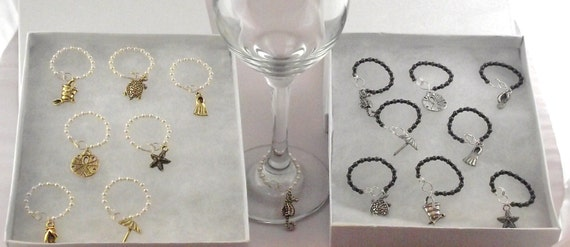 Summertime Beach Wine Charms with Swarovski Crystal Pearls