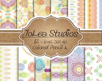 Digital Paper Colored Pencil Set 4, Scrapbook Paper Set, 12 x 12, Instant Download, Printable Design