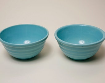 Nice pair of ringed bowls, Turquoise, signed Padre