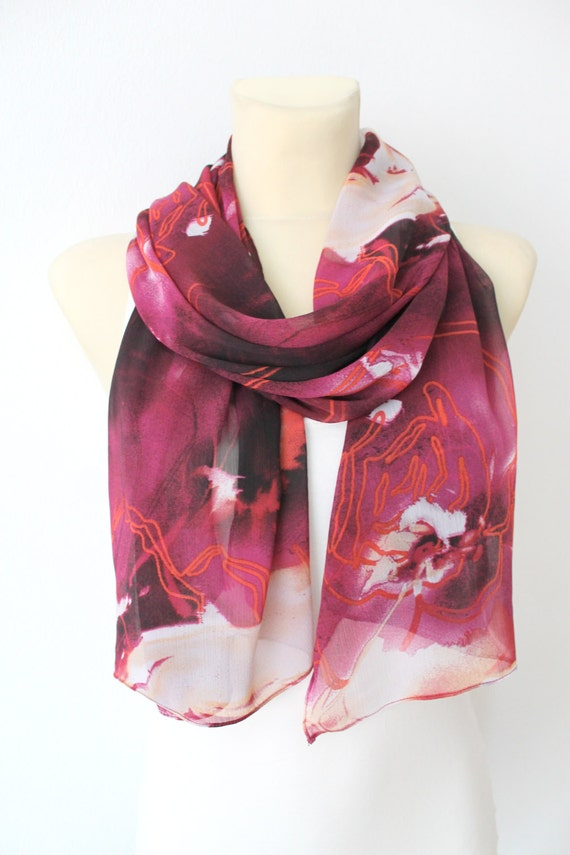 Chic Shawl Boho Burgundy Wrap Shawl Festival Women Scarf Printed Boho Scarf Fashion Accessories Gift for Her Mothers Day Gift for Women copy