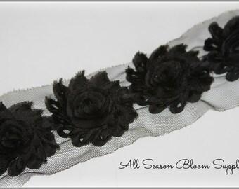 Shabby rose trim, Black color, Shabby flower, Shabby trim, Chiffon flower, Shabby chic.