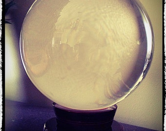 """Large Quartz Crystal Ball 5"""" Diameter, Wicca, Pagan, Divination, Scrying, Occult"""