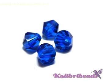 20x Czech Crystal Bicone Beads 6 mm - Capri Blue