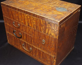 Japanese TANSU Chest Jewelry Box w 4 Drawer & Top Storage Lacquered Wood Fine Grain