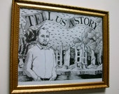 "Tell Us A Story (ORIGINAL DRAWING) 9 1/2"" x 7 1/2"" in a 11"" x 9"" frame by Mike Kraus"
