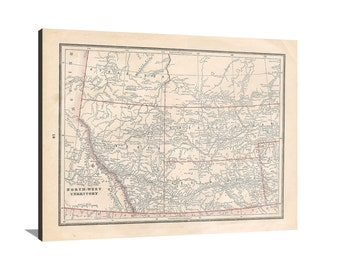 North-West Territory Canada 1894 Large Vintage Map Matte Print