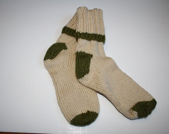 Hand knitted Adult mitten and sock set