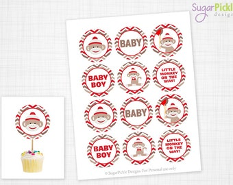 Sock Monkey Cupcake Toppers, Baby Shower, Sock Monkey Baby Shower Toppers, Sock Monkey Toppers, Sock Monkey Party Decorations - 2.25 inch