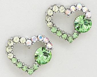 Green & White Heart Shaped Crystal Earrings