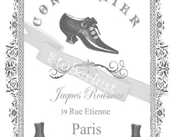 Instant DOWNLOAD  20 x 28 cm frame with an advertising for an french cobbler cordonier with shoes and old handwriting