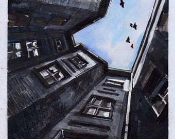 Sky Painting, Sky Art, Modern Painting, Original Artwork, Custom Art, Ink Painting, Wall Home Decor, Living Room Painting, Unique Wall Art