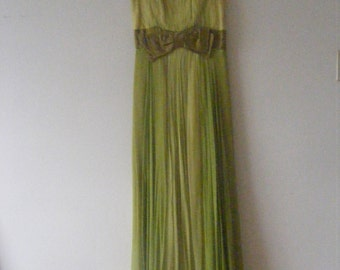 Green Silk Gown - HOLIDAY SALE, 50% OFF!!!