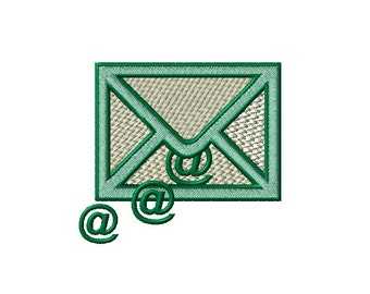 Solid email icon with leaking at sign Machine Embroidery Design