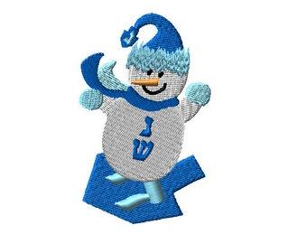 Snowboarding Snowman Dreidel Embroidery Design