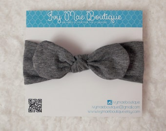 Charcoal Grey Knot Headband- Sizes newborn- toddler