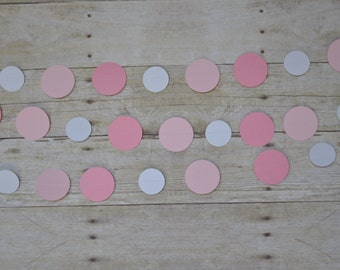 Pink and White confetti garland/circle garland, photo prop, party decor