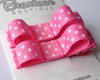Pink Polka Dot Tuxedo Bow Hair Clips | Baby Girl Hair Clips | Hair Bows | Baby Hair Accessories | Infant Hair Clips | Toddler Hair Clips