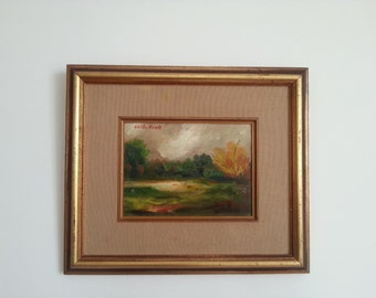 Oil Painting, wooden frame, vintage oil painting, landscape, Holy land, vintage art, painting with oil, vintage painting signed, Jewish art