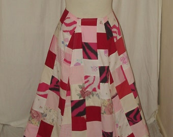Upcycled Pinks & Reds Patch Work Wrap Around Skirt Uk Size 10-12