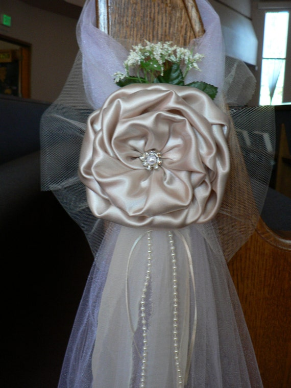 Champagne Pew Bows Chair Bows Elegant Wedding Bows Church