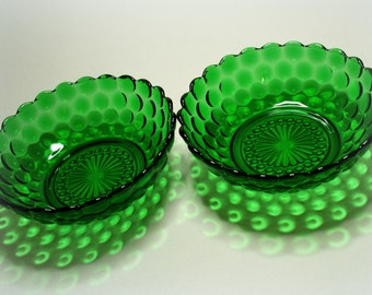 Anchor Hocking Emerald Green Dessert Bubble Bowls Fire King (Set of 4) Mid Century Retro Vintage