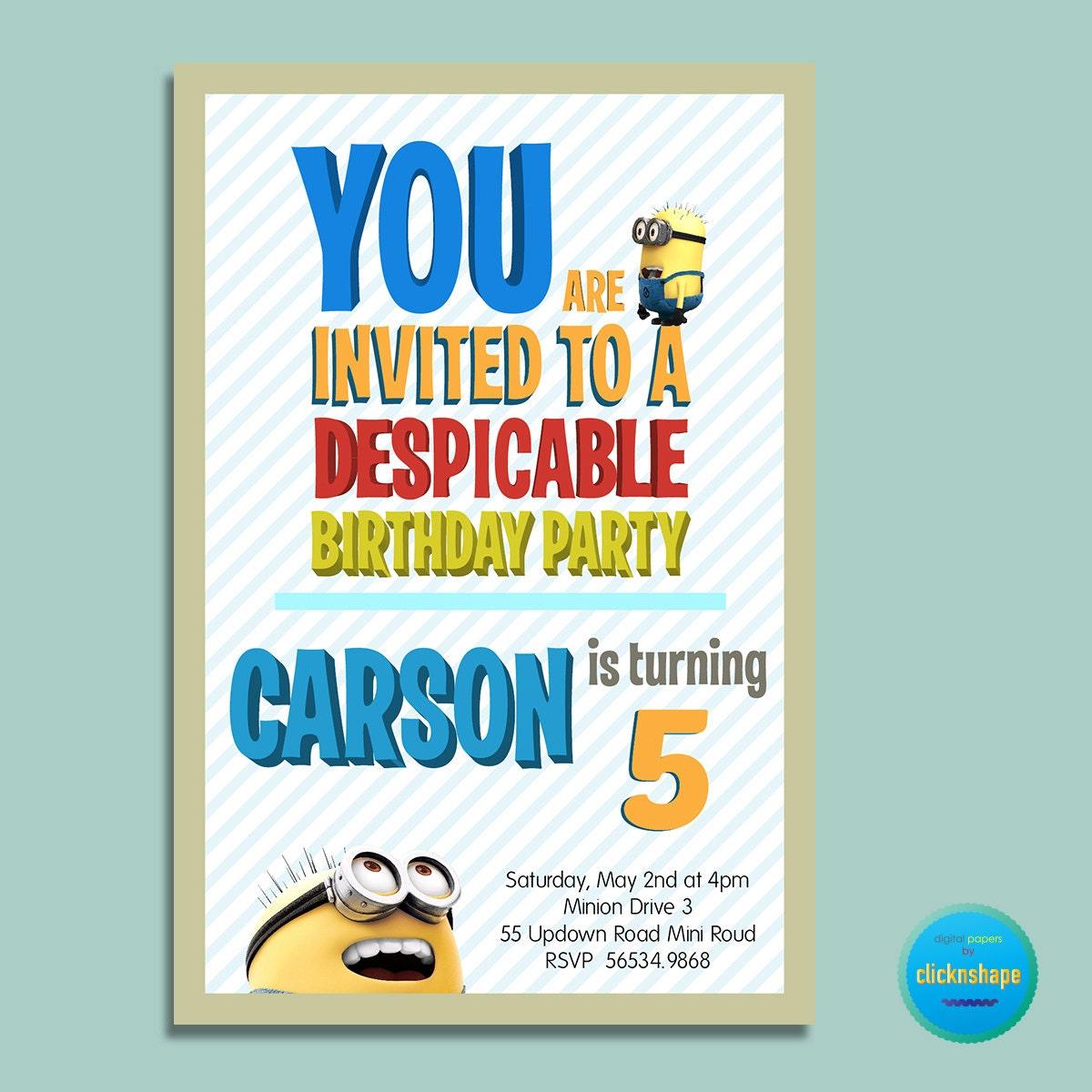 Minions Birthday Invitation for adorable invitation example