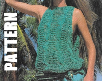 Sleeveless Summer Top, Knitting Pattern, PDF Instant Download, Vintage Ladies Summer Top, Ribbon Top, 50% OFF JUNE