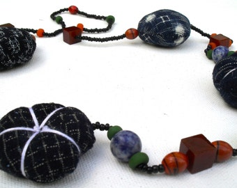 Handmade necklace with Japanese indigo textiles, cultured pearls. ,glass beads