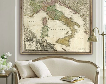 "Italy Map 1730, old map of Italy in 4 different sizes up to 43x36"" (110x90 cm) Italian map - Limited Edition of 100"