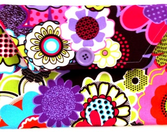 Bright Purple and Pink Flower Diaper/Wipe Pouch