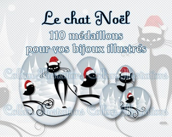 Digital Printable Collage Sheet - Chat Noël