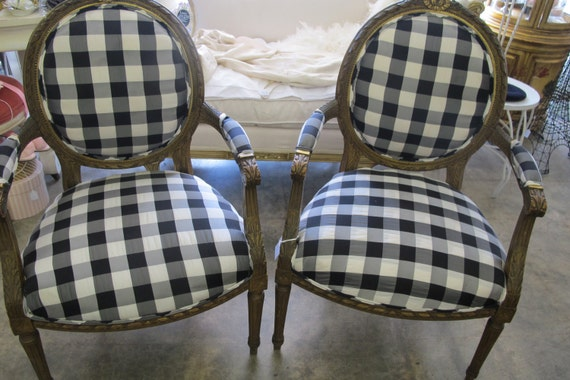 Amazing French vintage chair new upholstery  in black and white plaid