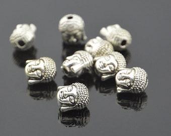10PC  Antiqued Silver Plated Buddha head beads Meditating Buddha beads