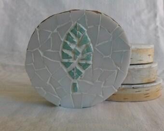 Leaf mosaic coasters