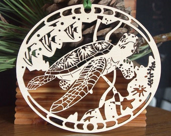 Wood Sea Turtle ornament woodcut turtle decoration wooden sea turtle