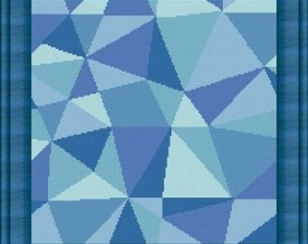 MOSAIC BLU / mosaique bleu- Counted cross stitch pattern /grille point de croix ,Cross Stitch PDF, Instant download , free shipping